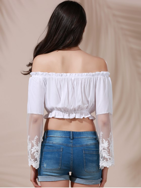 White Lace Spliced Flare Sleeve Off The Shoulder Crop Top Belly Shirts - WHITE M Mobile