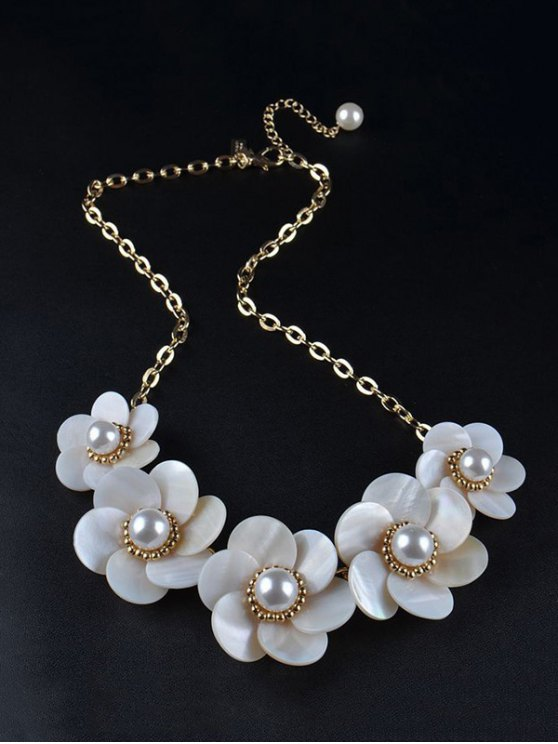 Faux Pearl Flower Necklace -   Mobile