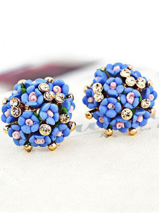 Blue Tiny Floral Earrings - BLUE  Mobile