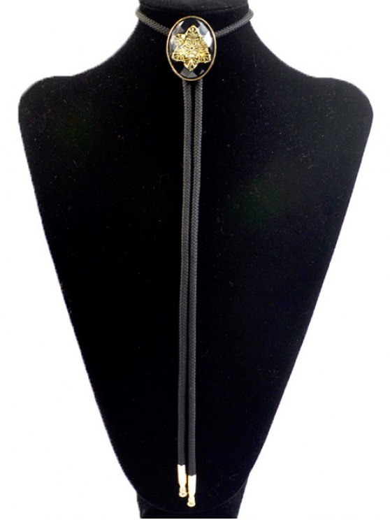 Snowflake Shape Inlay Bolo Tie - Noir