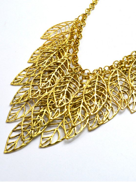 Hollow Out Leaf Golden Necklace -   Mobile