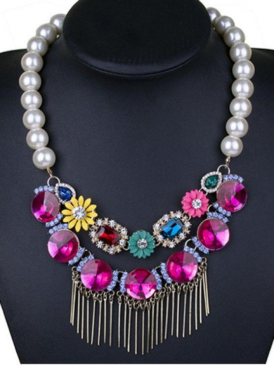 Colored Rhinestone Big Faux Pearl Necklace -   Mobile