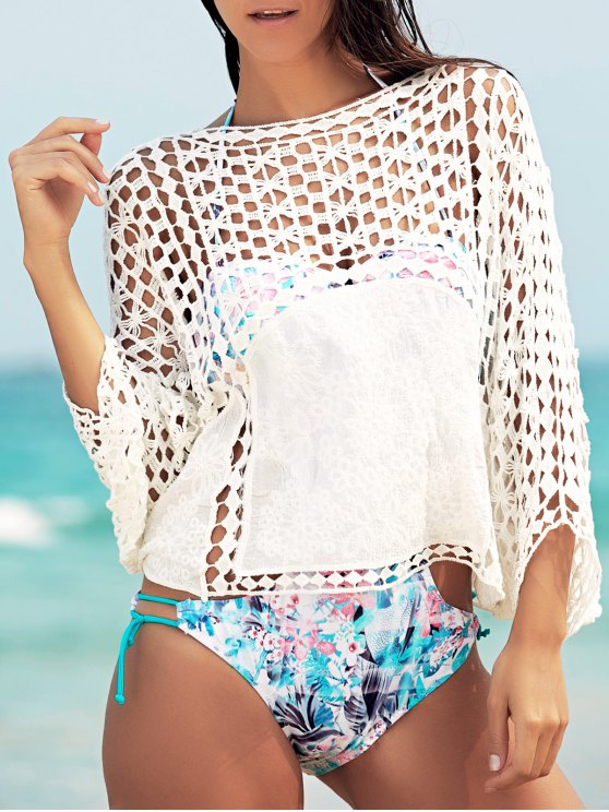 Dolman Sleeve Openwork Cover Ups Bathing Suit - WHITE ONE SIZE(FIT SIZE XS TO M) Mobile