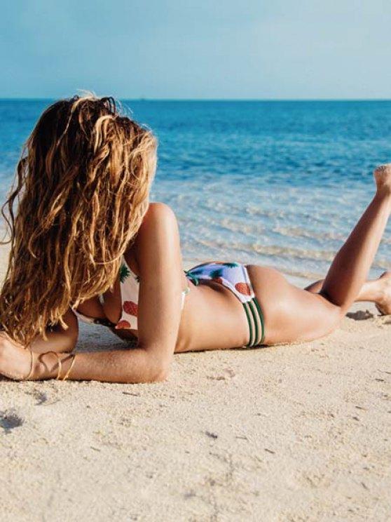 Strappy Pineapple Reversible Cute Bikini Bathing Suit - YELLOW L Mobile