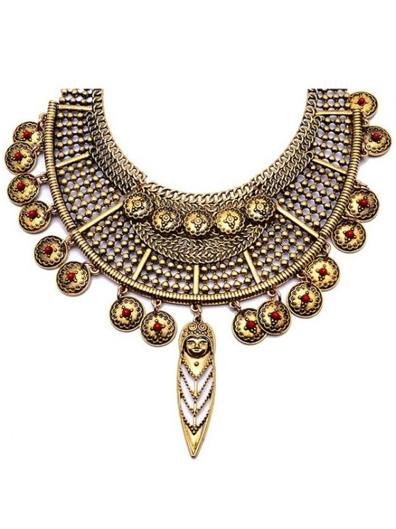 Portrait Round Ethnic Pendant Necklace -   Mobile