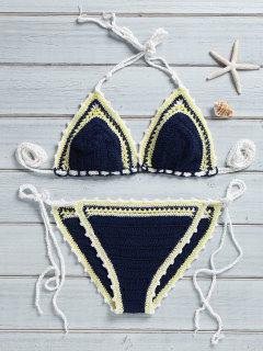 Trendy Crocheted String Bikini Set - Purplish Blue