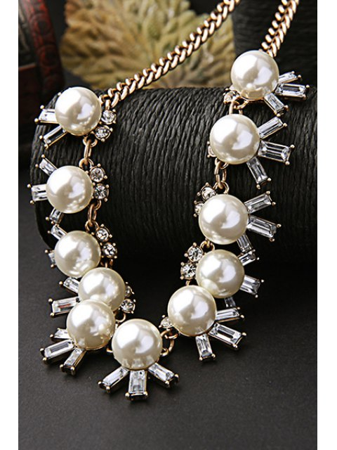 outfits Faux Pearl Elegant Necklace - GOLDEN  Mobile