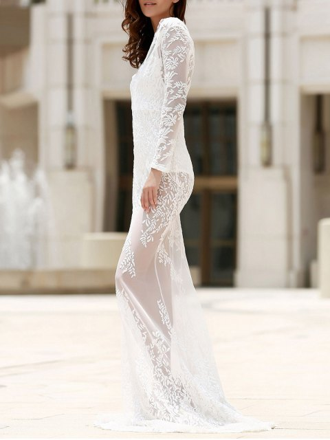 fancy Maxi Sheer Lace Prom Dress - WHITE S Mobile