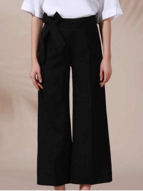 online Solid Color Belted High Waist Wide Leg Pant - BLACK L Mobile