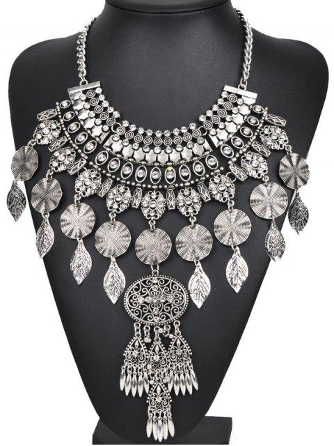 fashion Rhinestone Long Ethnic Pendant Necklace - SILVER  Mobile