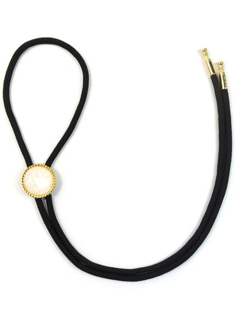 new Round Resin Inlay Bolo Tie Necklace - BLACK  Mobile