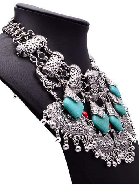 fancy Bead Turquoise Ethnic Pendant Necklace - SILVER  Mobile