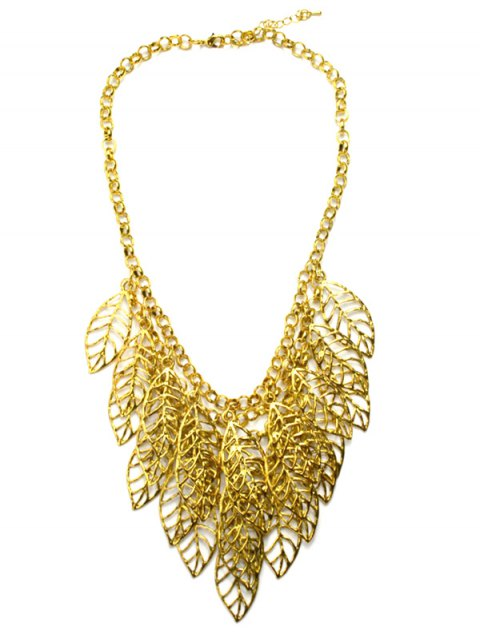 affordable Hollow Out Leaf Golden Necklace -   Mobile