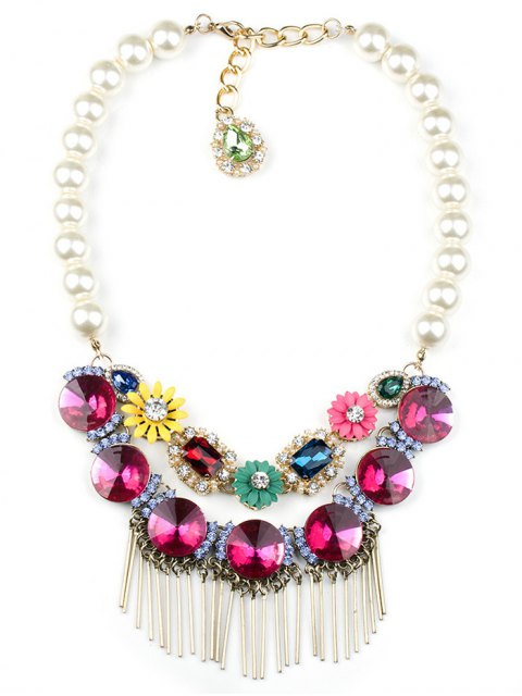 buy Colored Rhinestone Big Faux Pearl Necklace - ROSE  Mobile