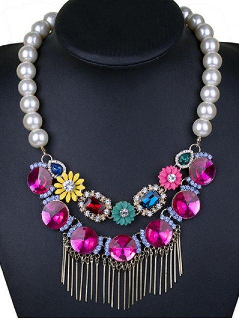 buy Colored Rhinestone Big Faux Pearl Necklace -   Mobile