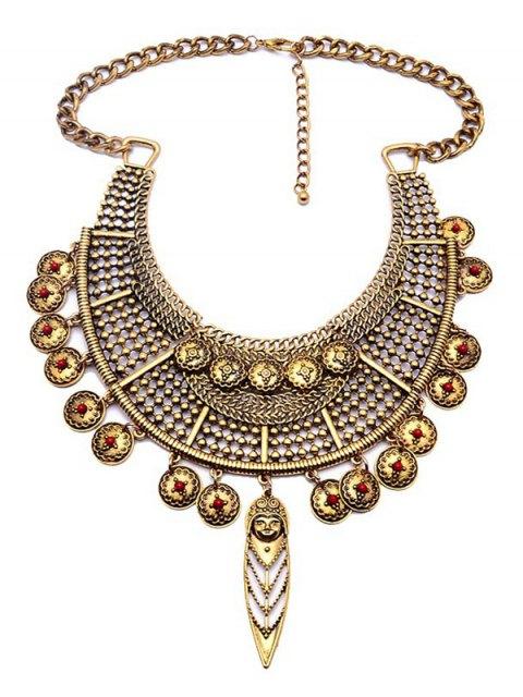 women Portrait Round Ethnic Pendant Necklace - GOLDEN  Mobile