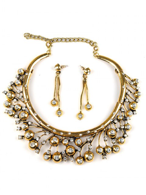 women's Rhinestone Tree Branch Necklace and Earrings -   Mobile