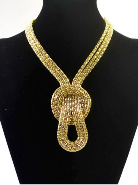 lady Knotted Snake Necklace - GOLDEN  Mobile