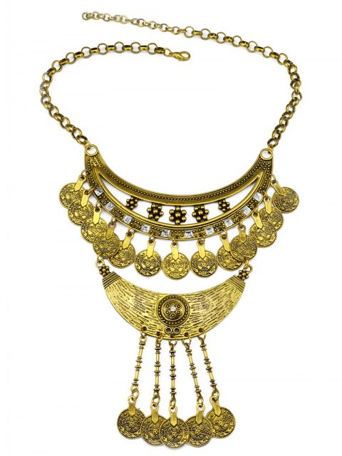 online Round Pendant Ethnic Necklace - GOLDEN  Mobile