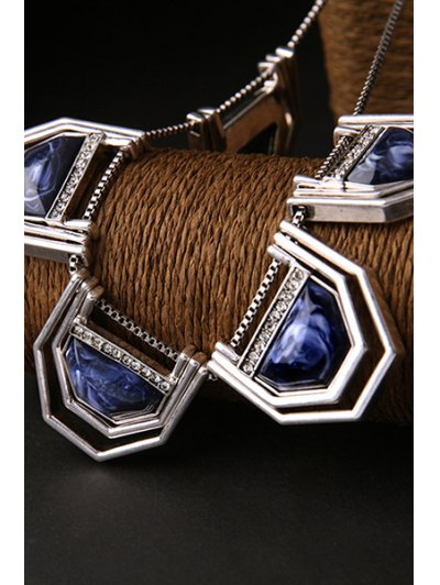 Faux Sapphire Geometry Necklace - SILVER  Mobile