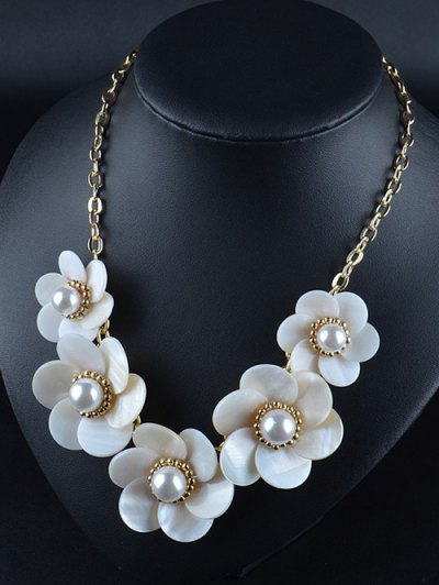 Faux Pearl Flower Necklace - WHITE  Mobile
