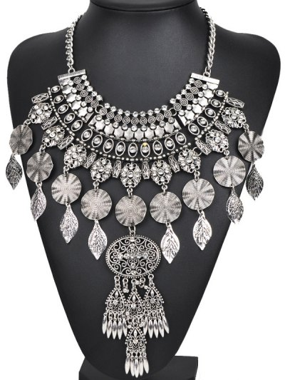 Rhinestone Long Ethnic Pendant Necklace - SILVER  Mobile