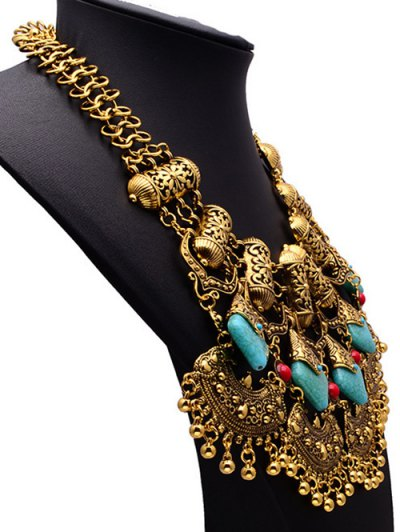 Bead Turquoise Ethnic Pendant Necklace - GOLDEN  Mobile