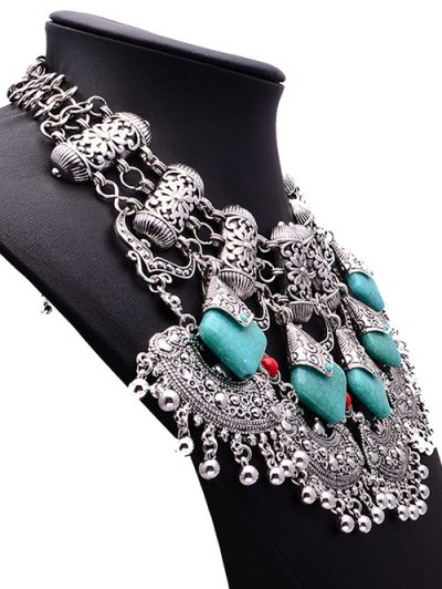 Bead Turquoise Ethnic Pendant Necklace - SILVER  Mobile