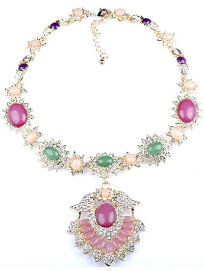 Flower Jewelry Necklace - PINK  Mobile