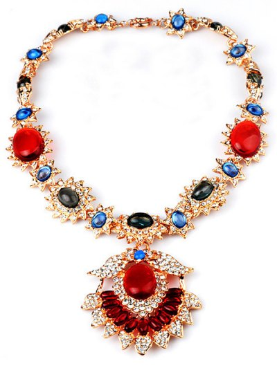 Flower Jewelry Necklace - RED  Mobile