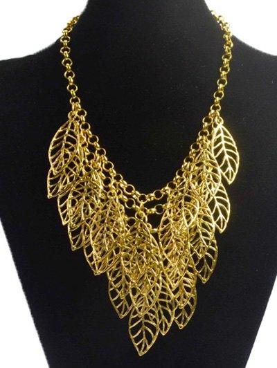 Hollow Out Leaf Golden Necklace - GOLDEN  Mobile