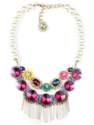 Colored Rhinestone Big Faux Pearl Necklace - ROSE  Mobile