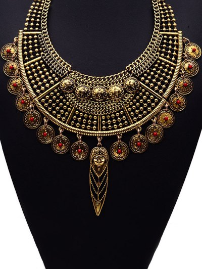 Portrait Round Ethnic Pendant Necklace - GOLDEN  Mobile