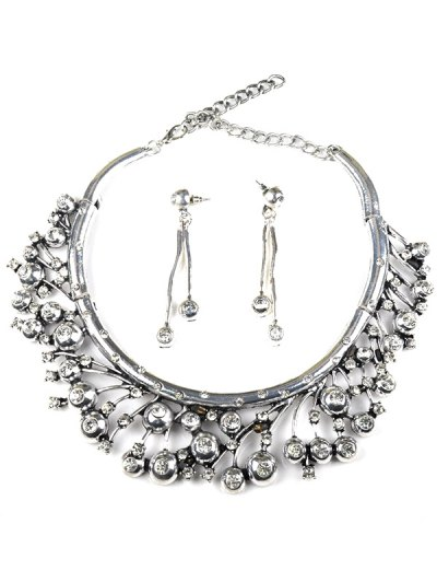 Rhinestone Tree Branch Necklace and Earrings - SILVER  Mobile