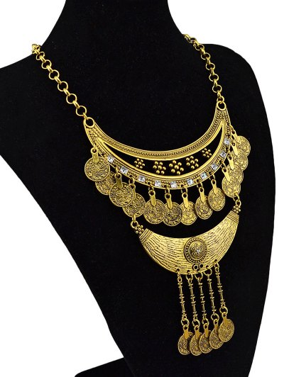 Round Pendant Ethnic Necklace - GOLDEN  Mobile