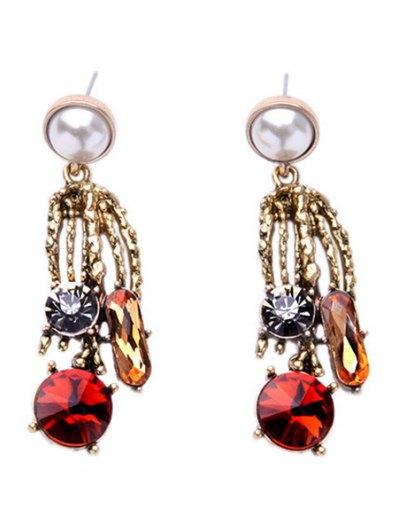 Rhinestone Faux Pearl Simple Earrings - Golden