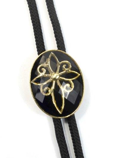 Retro Flower Design Bolo Tie Necklace - BLACK  Mobile