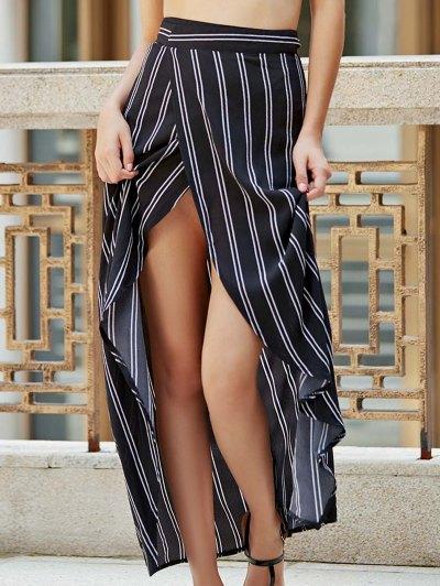 Stripe High Waist High Low Skirt - Black