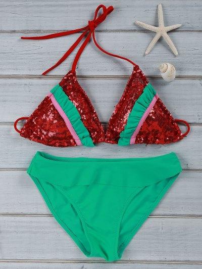 Ruffles Spliced Spaghetti Straps Bikini Set - Red L