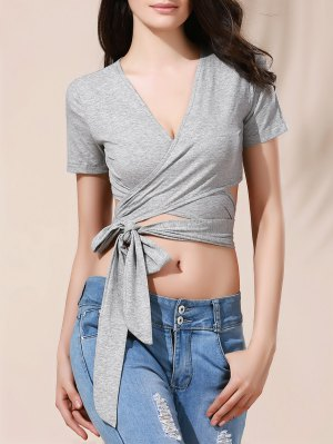 Solid Color Plunging Neck Wrap Cropped T-Shirt - Blue Gray