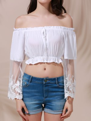 White Lace Spliced Flare Sleeve Off The Shoulder Crop Top - White