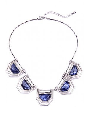 Faux Sapphire Geometry Necklace - Silver