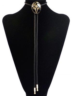 Retro Flower Design Bolo Tie Necklace - Black
