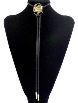 Snowflake Shape Inlay Bolo Tie Necklace - Black