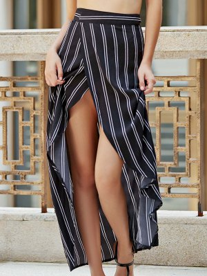 Stripe High Waist High Low Skirt - Black