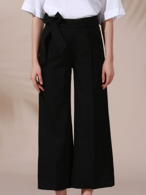 Solid Color Belted High Waist Wide Leg Pant - Black