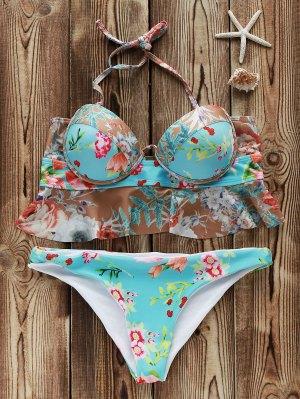 Push Up Floral Print Bikini Set - Colormix L