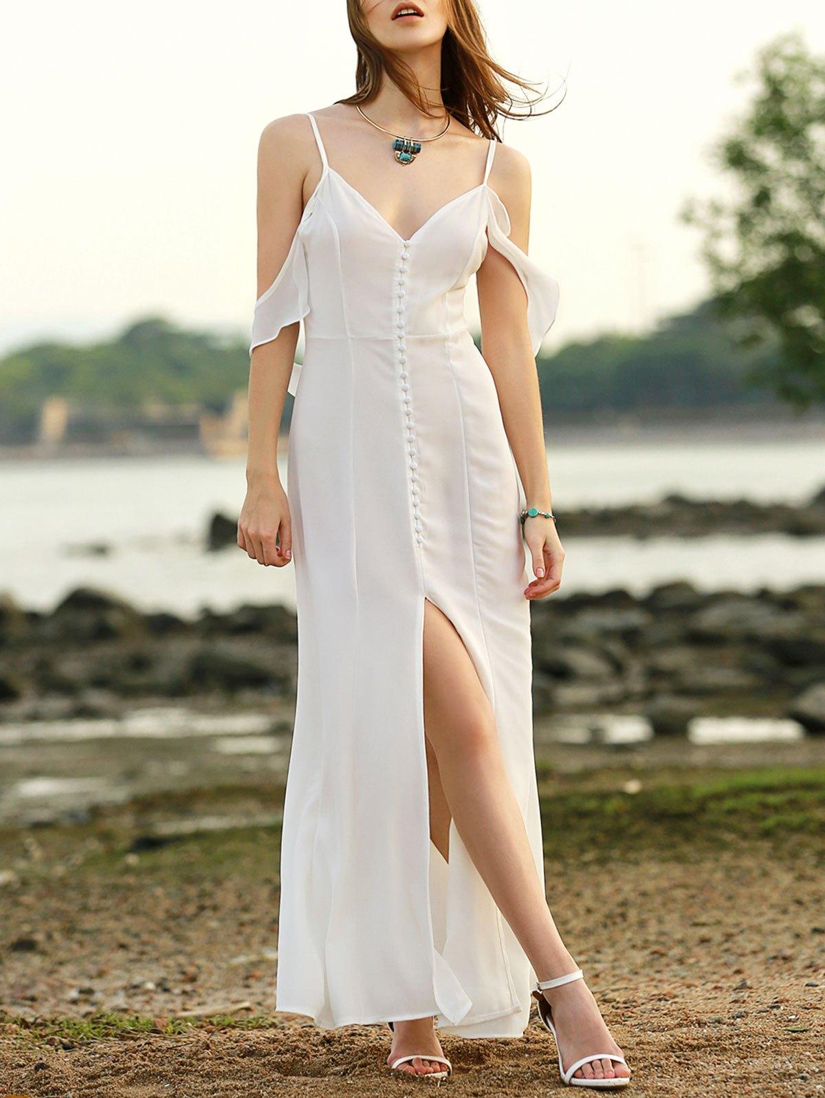 Solid Color Cami Slit Maxi Dress