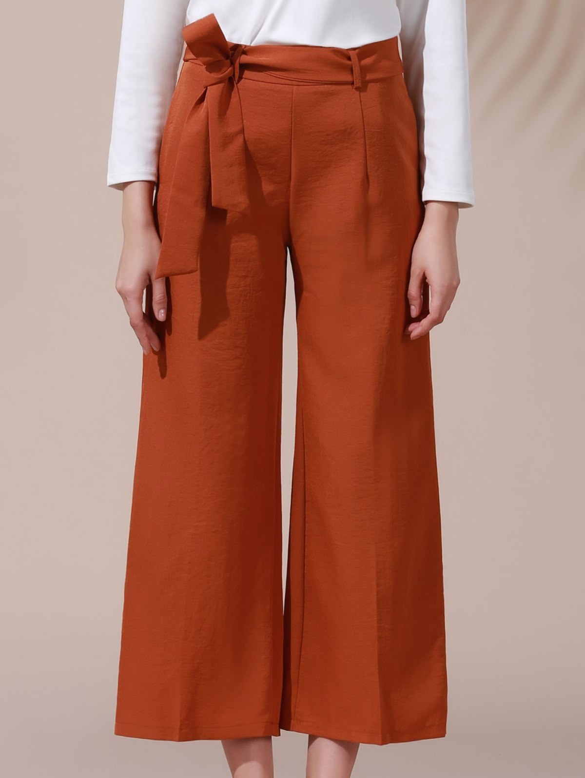 High Waist Solid Color Belted Wide Leg Pant