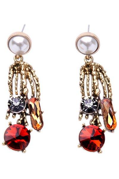Rhinestone Faux Pearl Simple Earrings